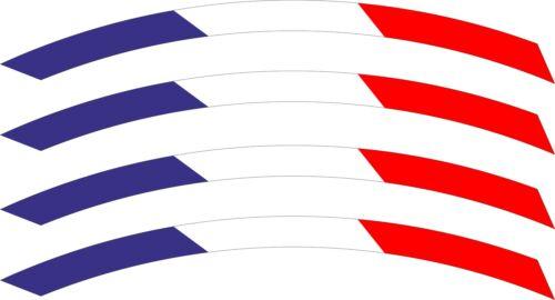 "4x France RIMS WHEELS VINYL STICKER STRIPES FLAG RIM FOR 17/"" WHEEL MOTORCYCLE"