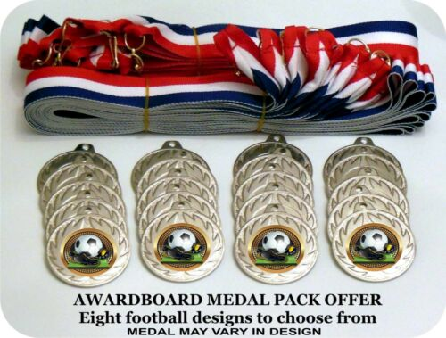 20 X JUNIOR FOOTBALL SILVER METAL MEDALS  WITH FREE MEDAL RIBBONS & FREE P&P