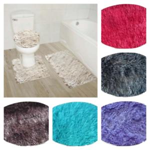 3pc New Furry Soft Design Bathroom Set Bath Rug Contour Mat Toilet Lid Cover