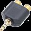 thumbnail 2 - GOLD Mini Headphone 3.5 mm Jack Plug to TWIN 2 RCA PHONO Sockets Audio Adapter