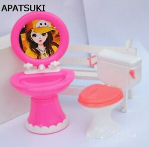 Doll-Accessories-Plastic-Wash-Basin-Toilet-Set-For-Barbie-Dollhouse-DIY-Kids-Toy
