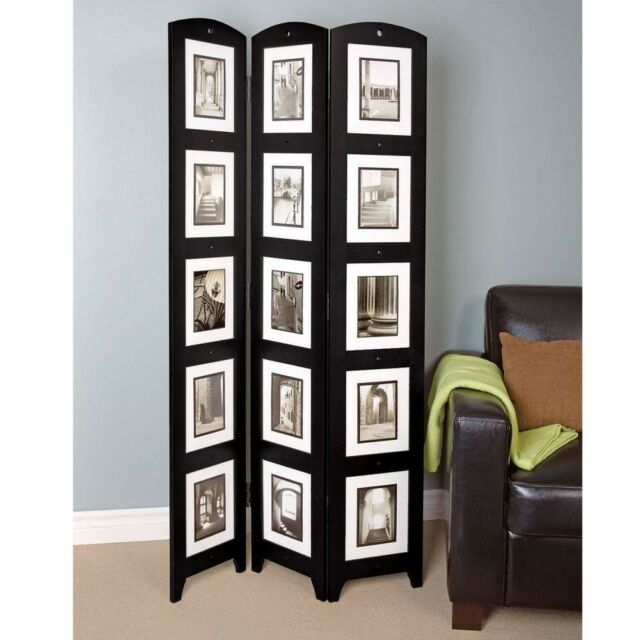 Room Divider 3 Panel Photo Screen Free Standing Frame Home Decor Black 5 4 Ft