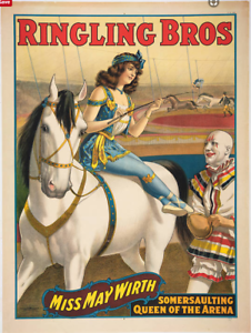 Ringling Bros Miss May Worth Horse Vintage Circus Travel Poster Art Print