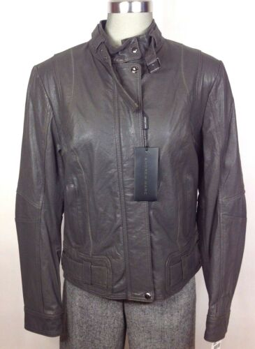 Andrew Marc NEW WT Charcoal Gray Antique Washed Lambskin leather jacket size S M