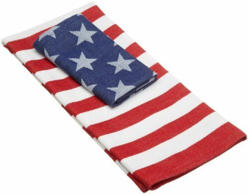 Red White and Blue STARS /& STRIPES Tea Towel /& Dishcloth 2 Piece Set
