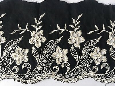 Black Cotton Embroidery Lace Fabric DIY  Material Width 10 cm 1 Yard