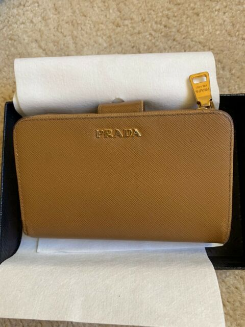 7f3aa72836fbd3 Prada 1ML225 Saffiano Leather French Wallet with Coin Zip Pocket,  Caramel/Fuoco