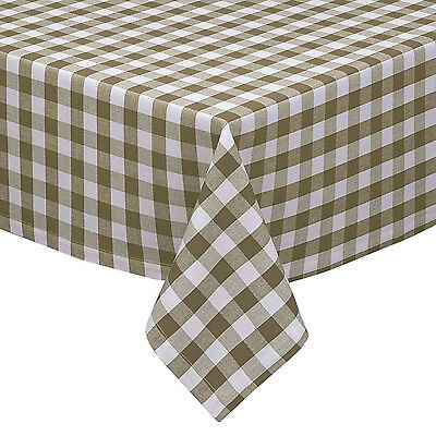 Taupe White Cotton Rich Checkered Kitchen Tablecloth Gingham Plaid Design Ebay