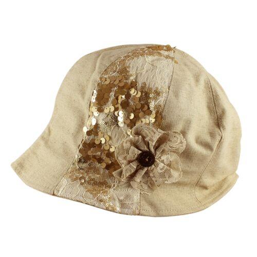 Linen Sequin Flower Packable Beach Sun Cloche Bucket Hat Womens Summer Winter