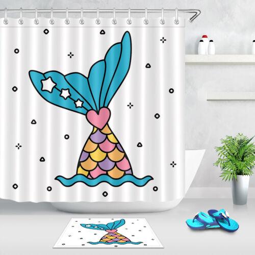 72x72/'/' Bathroom Waterproof Shower Curtain Pastel Rainbow Mermaid Tail 12 Hooks