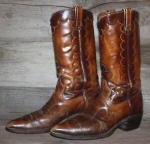 VTG TEXAS EMBOSSED BROWN LEATHER