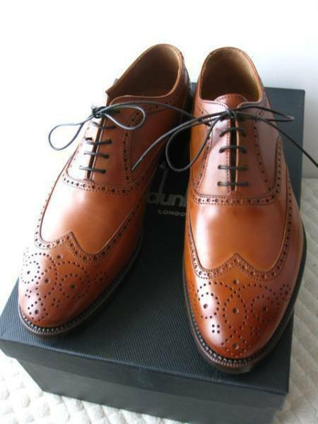 DUNHILL LONDON Men's Leather shoes Brown Wing Tip Fashionable Item size 39.5