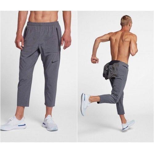 L Nike Gym Uomo Nero Nuovo Da 3 4 Corsa Run Division Grigio Pantaloni Training 68PqrF6w
