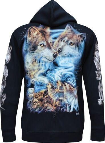 Wolf Pack Biker Native American Indian Animal Zip Zipped Hoodie Hoody Jacket