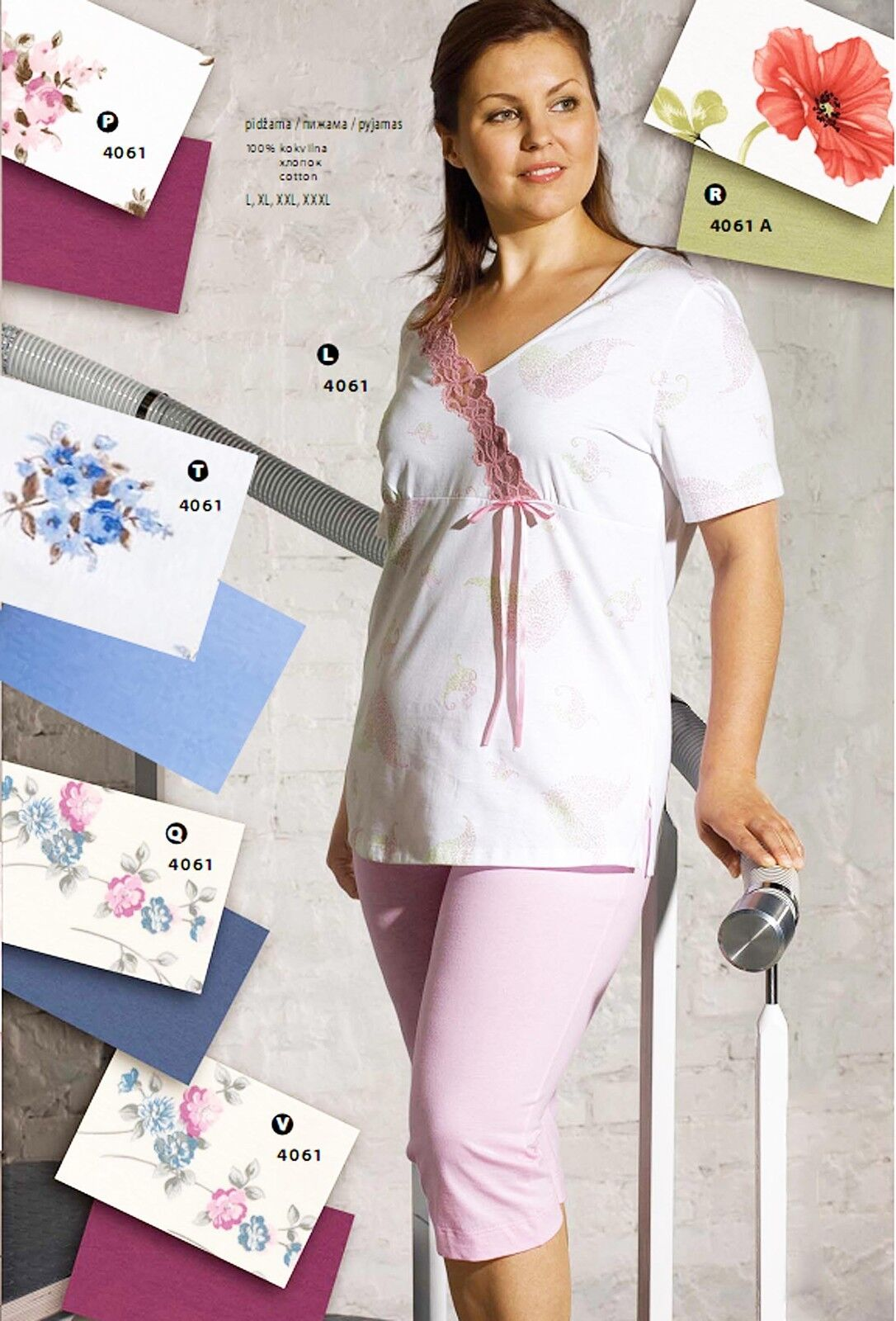 COTTON PAJAMA SET POPPIES FLORAL PLUS SIZE MADE IN EUROPE LUX GIFT FOR WOMEN 20