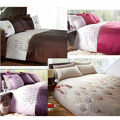 3pc Applique Sequined & Embroidered Bedding Duvet Quilt Cover Set in 4 colours