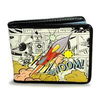 Retro Comic Rocket Wallet Vinyl Credit Card Pocket Billfold Outer Space Age