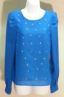 $78 Petticoat Alley Women's Blue Long Sleeve Top Blouse Size: S