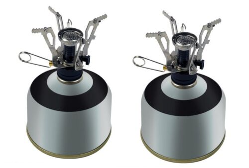 2 Stove Mini Survival Backpacking Camping Piezo Ignition Cooking  Heating Fire