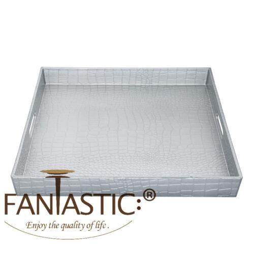 ™ Decorative Serving Tray With Metallic Finish Square Alligator Fantastic: