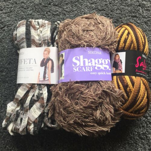 SIRDAR SCARF WOOL YARN MAKES 3 SCARVES ***FREE PATTERNS***FREE POSTAGE***