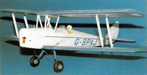 "Model Airplane Plans : DH82A Tiger Moth 32½/"" for .55-.8cc RC ½A by Boddington"