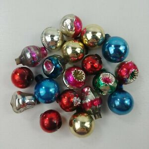 Vtg-Mercury-Glass-Christmas-Feather-Tree-Ornaments-Miniature-5-8-034-Lot-of-19