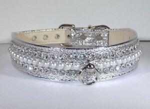 Elegant-RHINESTONE-Pearl-amp-Jewel-BLING-DOG-COLLAR-Silver-metallic-handmade-USA