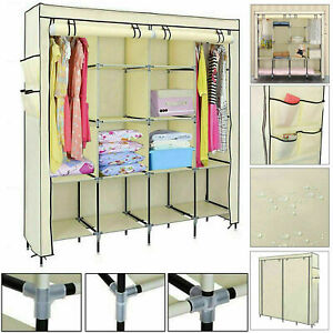 Triple-Canvas-Wardrobe-Hanging-Clothes-Cupboard-Rail-Storage-Organiser-Shelves