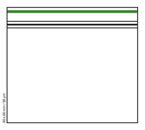green line transparent Schnellverschlussbeutel Zip Beutel 80x60mm 90µ klar