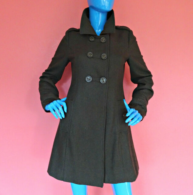 Anthropologie Tulle Army Green Wool Military Coat Peacoat M 8 10 Double Breasted