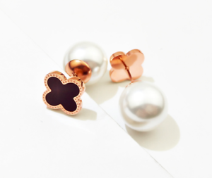 18KGP-Rose-Gold-Stainless-Steel-White-Pearl-Black-Clover-Stud-Earrings
