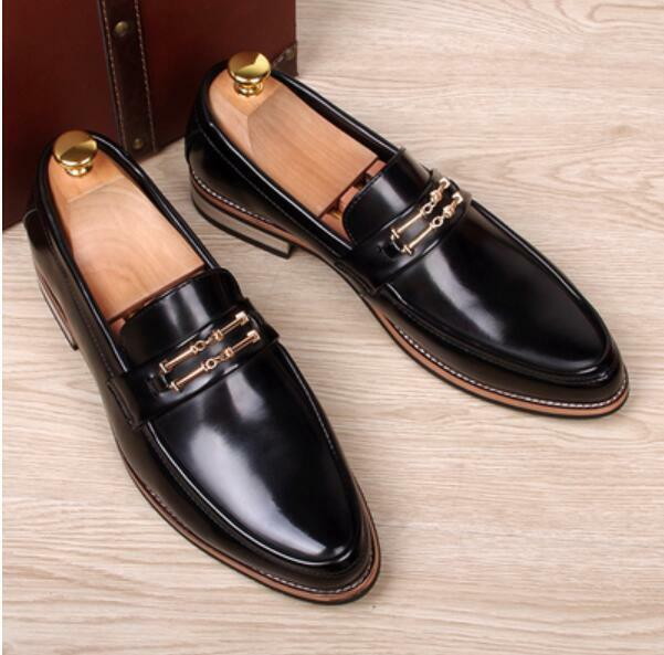 British Men Leather Dress Business Pointed Toe Slip On Wedding shoes Loafers New