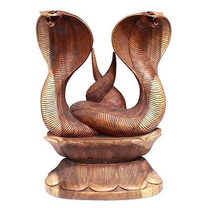 Große 50 cm Doppel-Kobra Schlange Snake Tier Holz Cobra02