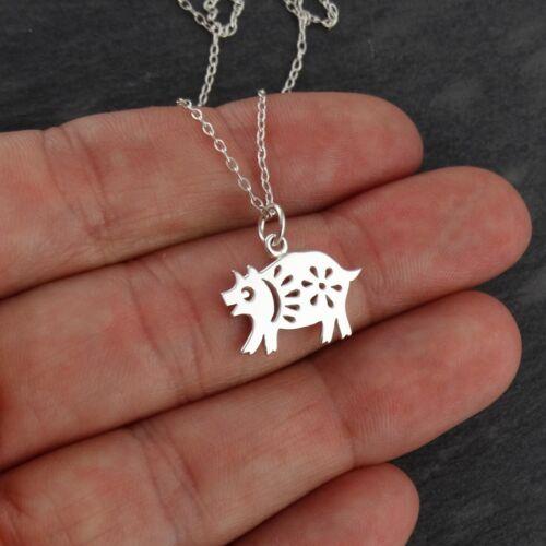 Année du Cochon Collier-Argent Sterling 925-chinois zodiaque pendentif nouveau