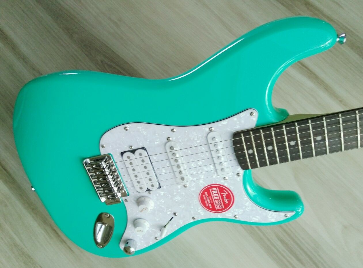 Fender  Stratocaster Guitar TurboCharged w  Blender MOD Seafoam Squier Strat NEW