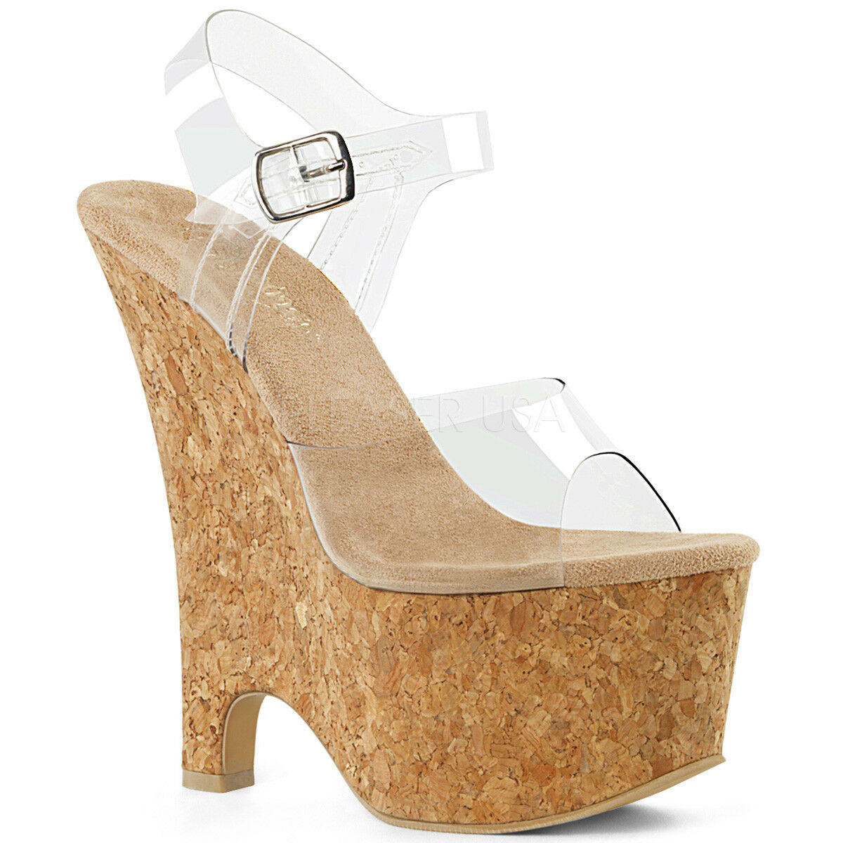 negozio online Pleaser Pleaser Pleaser BEAU-608 Donna  Clear Tan Cork Heel Wedge Platform Ankle Strap Sandals  centro commerciale online integrato professionale