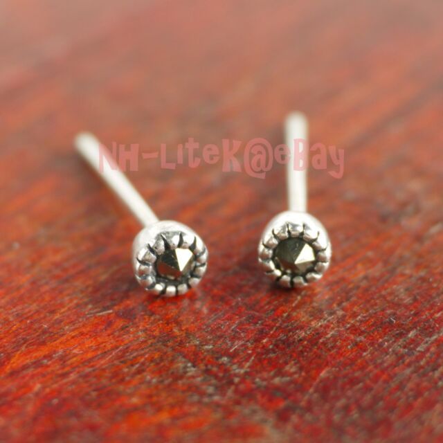 925 Sterling Silver Retro Tiny 3 2mm Round Dot Marcasite Stud Earrings A1333