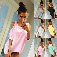 OVERSIZE Damen Schulterfrei T-Shirt 3/4 Arm Baggy Top Blusen Hemd Shirt Oberteil