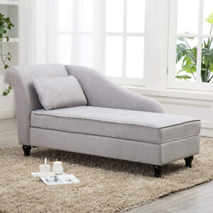Details zu Modern Chaise Lounge Storage Sofa Chair Couch for Living Room or  Bedroom Gray