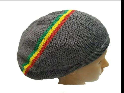 Gray Grey Beret Tam Hat Rasta Slouch Beanie Cap Dreadlocks Dreads Hair M//L