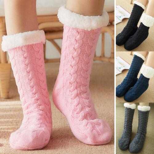 Hüttensocken Kuschelsocken Hausschuhe Damen Strümpfe Warm Gefüttert Long Socken