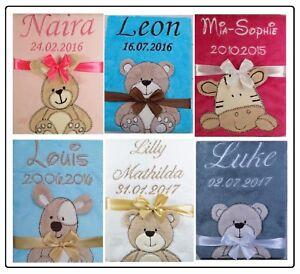 ★ Babydecke mit Namen und Datum bestickt  ★ Geschenk ★ Geburt ★ Taufe ★