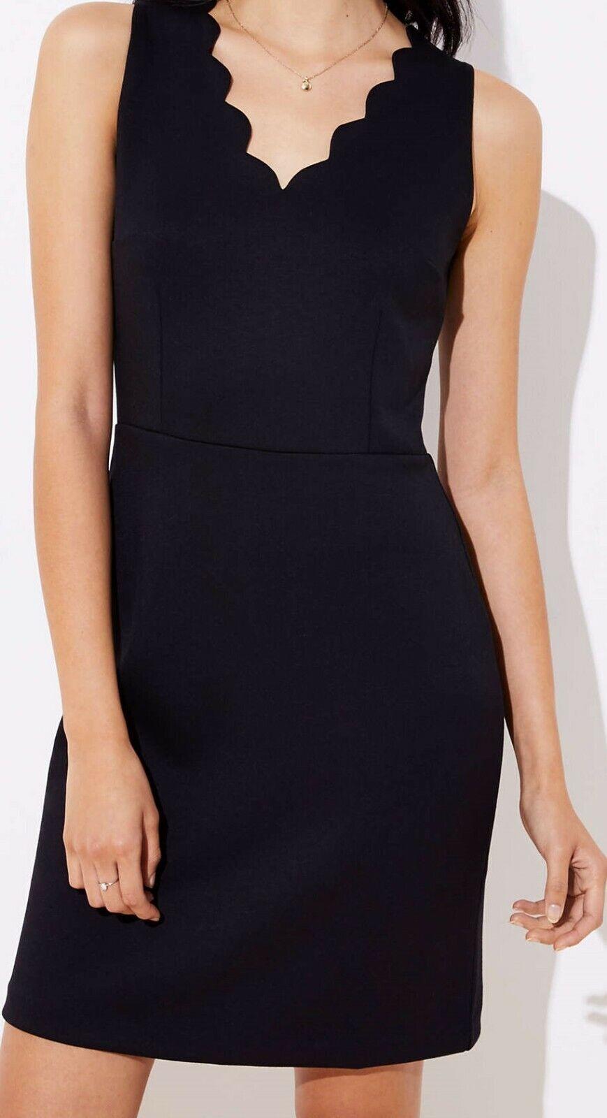 Ann Taylor LOFT Scalloped Sheath Dress Größe 00 Petite NWT schwarz Farbe