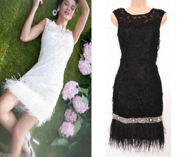 Lipsy @ASOS VIP Lace Beaded Detail Feather Hem Shift Evening Party Dress
