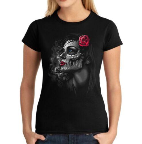 Velocitee femmes t-shirt joli jour de la Dead fille dia de los muertos A20455
