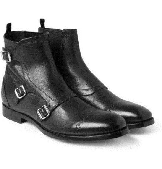Handmade Mens Triple buckle stivali, Men nero Ankle avvio, Men Fashion avvio