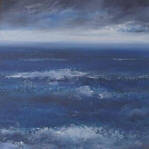 Amanda-Hoskin-Original-Oil-Painting-Land-039-s-End-Seascape-Cornwall-Cornish-Art