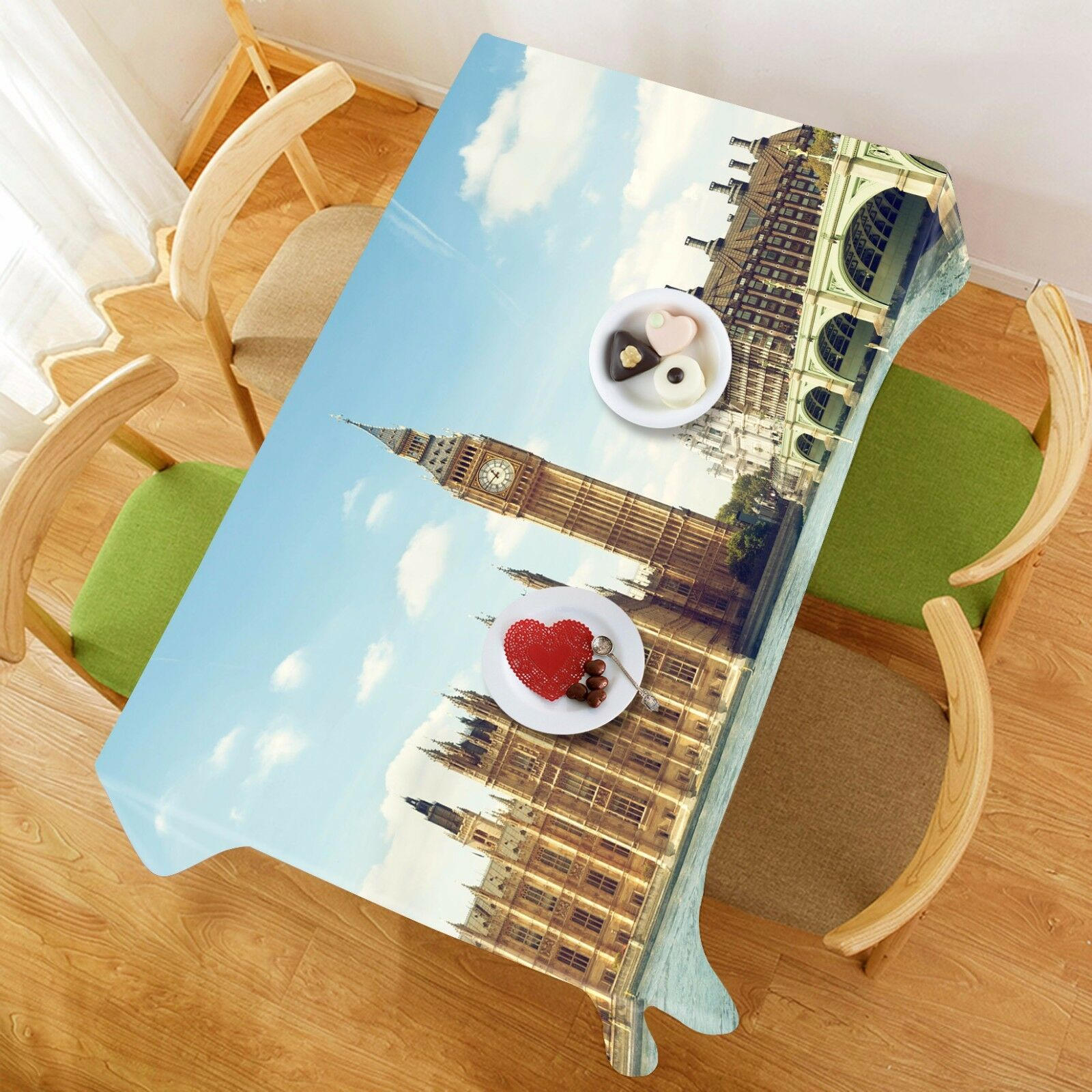 3D Ville Sky 42 Nappe Table Cover Cloth fête d'anniversaire AJ papier peint Royaume-Uni Citron