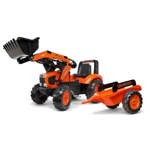 Kubota Branded Orange M135GX Kids Ride on Pedal Tractor with Loader and Trailer